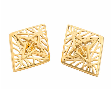 Rooted Statement Size Stud Earrings Gold Tone