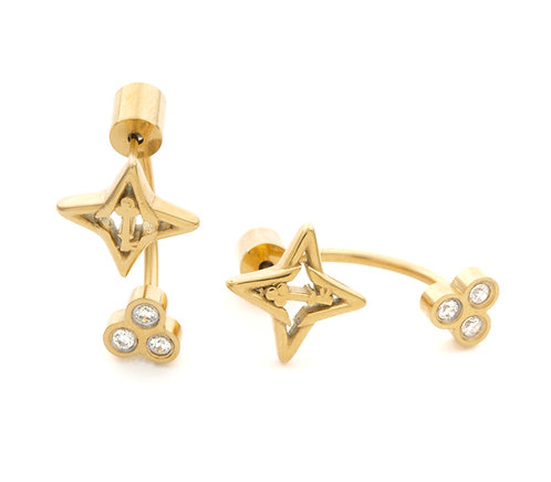 Guiding Star Gold Tone Stud Earrings