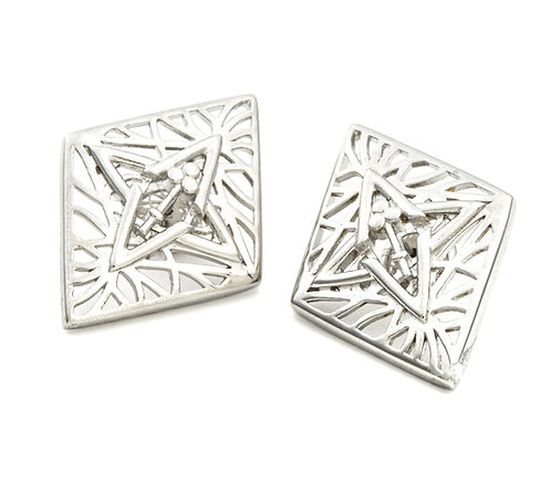 LIVE SALE Rooted Statement Size Stud Earring in Silver Tone