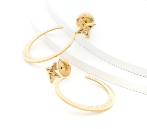 "It's Possible 1.5"" Small Hoop Earrings Gold Tone"