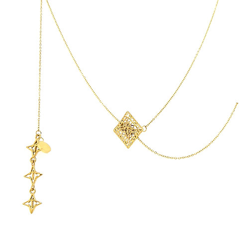 Rooted Adjustable Lariat Necklace Gold Tone