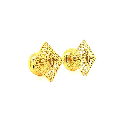 Rooted Stud Earrings Gold Tone