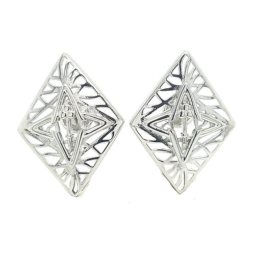 Rooted Statement Size Stud Earring in Silver