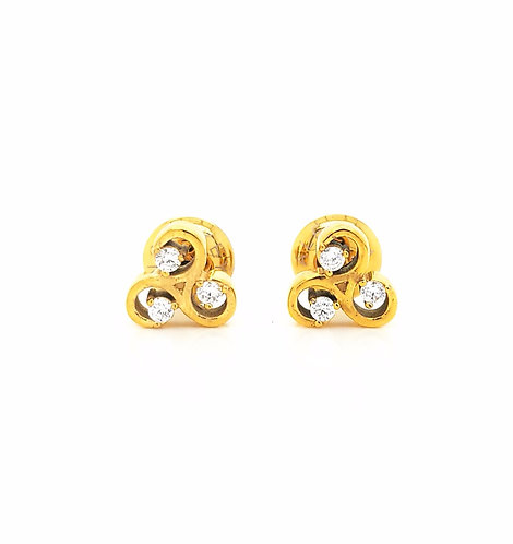 All Things Are Possible Stud Earrings Gold Tone White CZ Stones