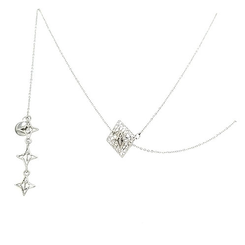 Rooted Adjustable Lariat Necklace Silver Tone