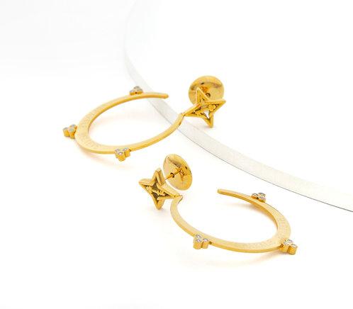 Sparkle Believe Small Hoop Earrings Gold Tone