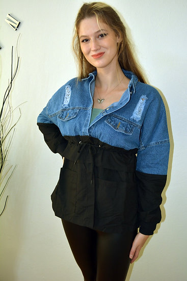 Siyah Kumaş Detaylı Kot Ceket