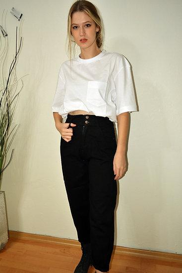 Oversize Beyaz Cepli T-Shirt