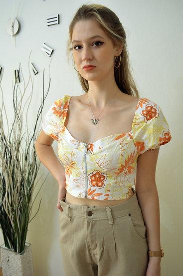 Crop Bluz Çok Renkli Çiçekli