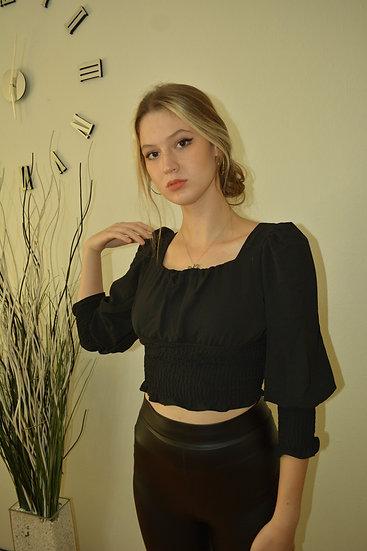 Ayrobin Gipeli Bluz Siyah Midi Kol