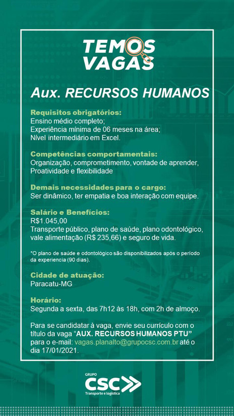 VAGAS DE EMPREGO NA EXPRESSO PLANALTO - PARACATU-MG