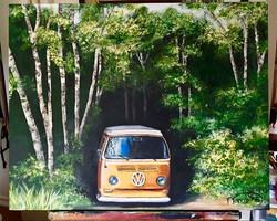 Volkswagon in woods -SOLD