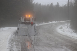 tow truck on ice road
