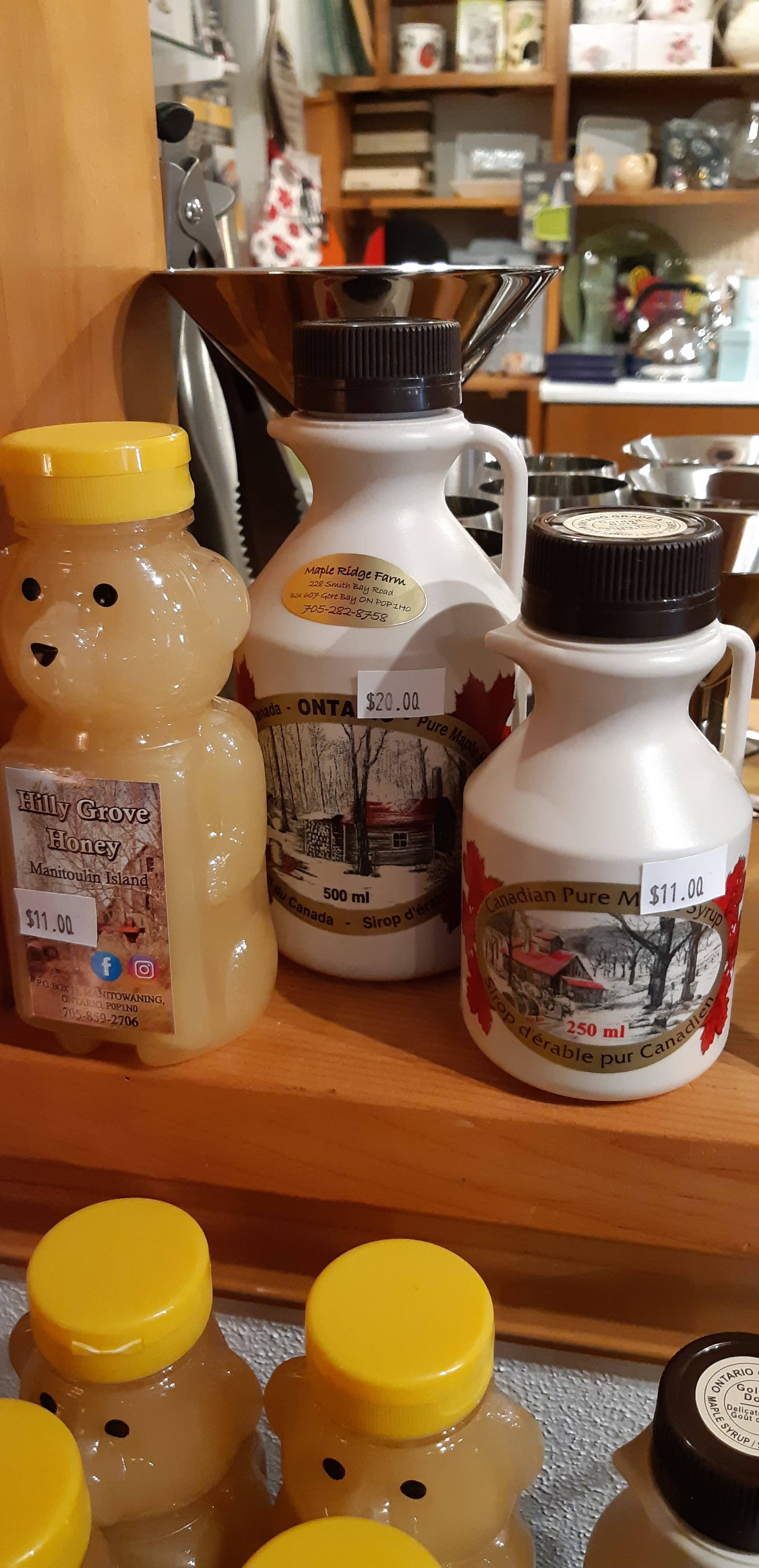 honey and maple syrup