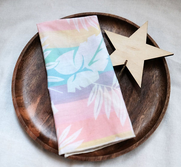 Pastel Rainbow Tropical Vintage Cloth Napkins, Set of 4