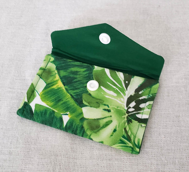 Green Palm Leaves Fabric Wallet
