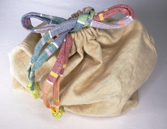 Natural Linen - Drawstring Bag