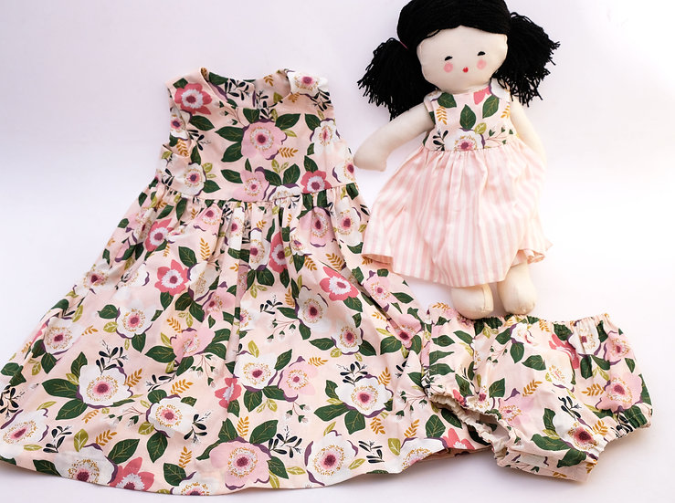 Pink Floral Dress with Asian Doll - Three Piece Set - 2T | Handmade by Rhonda
