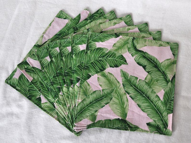 Tropical Print Banana Leaf Cloth Napkins