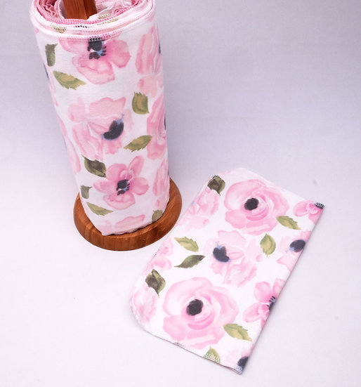 Watercolor Pink Flowers - Paperless Kitchen Towels