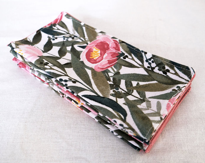 Leafy Print with Pink Flowers Cloth Napkins