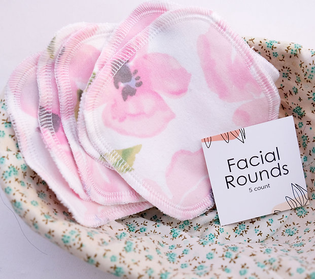Watercolor Pink Flowers - Set of 5 Facial Rounds