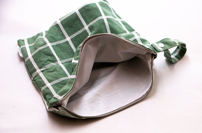 Large Wetbag - Vintage Green with White Grid Lines