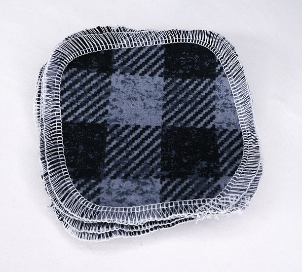 Black and Gray Checkered - Set of 5 Facial Rounds