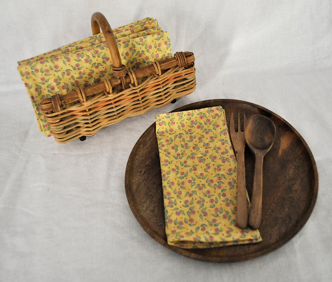Yellow Napkins with Purple Flowers, Double Sided