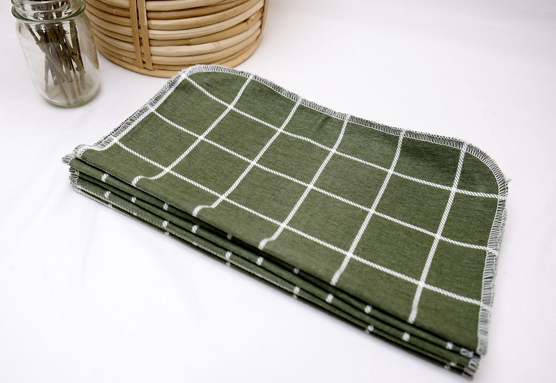 Green Windowpane - Paperless Kitchen Towels