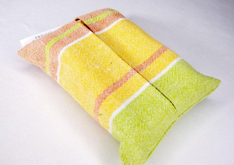 Orange, Yellow, and Green Striped Travel Hankie Set