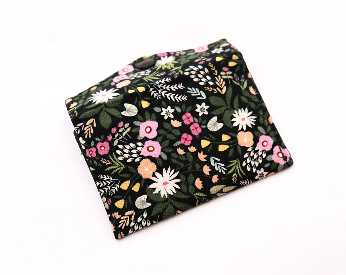 Dark Green Floral Fabric Wallet