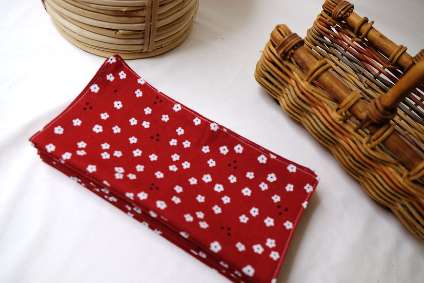 Little White Flowers on Red - Cloth Napkins