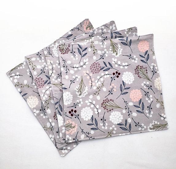 Light Gray Floral Cloth Napkins