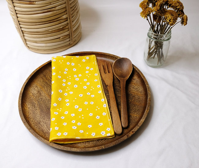 Little White Flowers on Yellow - Cloth Napkins