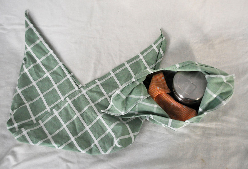 Green with White Lines Bento Bag