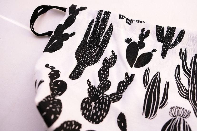 Black Cactus Print - Drawstring Bag