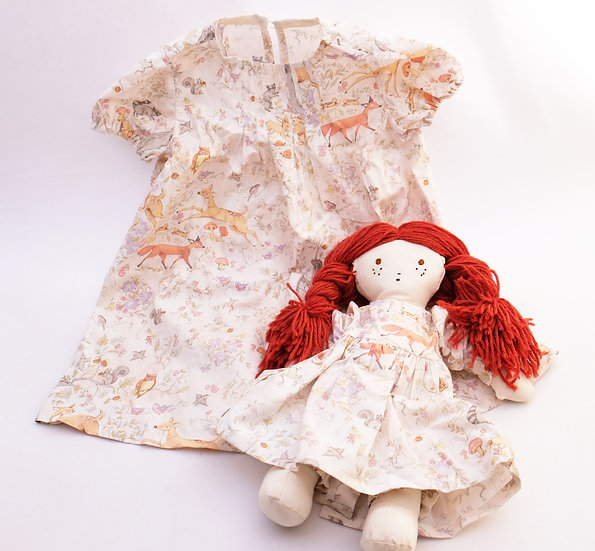 Woodland Dress with Redhead Doll - Dress and Doll Set - 2T | Handmade by Rhonda