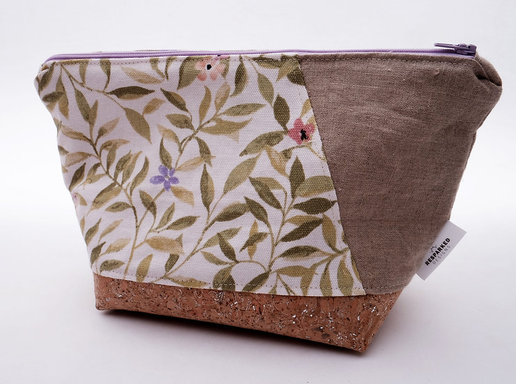 Vines & Flowers with Side Linen Accent - Flat Bottom Zipper Pouch