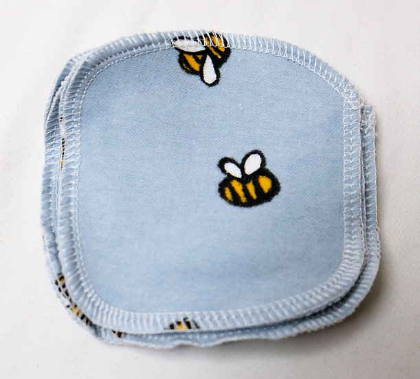 Bumblebees on Blue - Set of 5 Facial Rounds