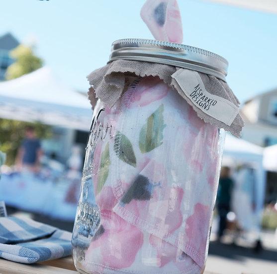Hankie Jar - Pink Floral