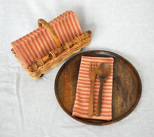Homespun Cloth Napkins - Red Stripes