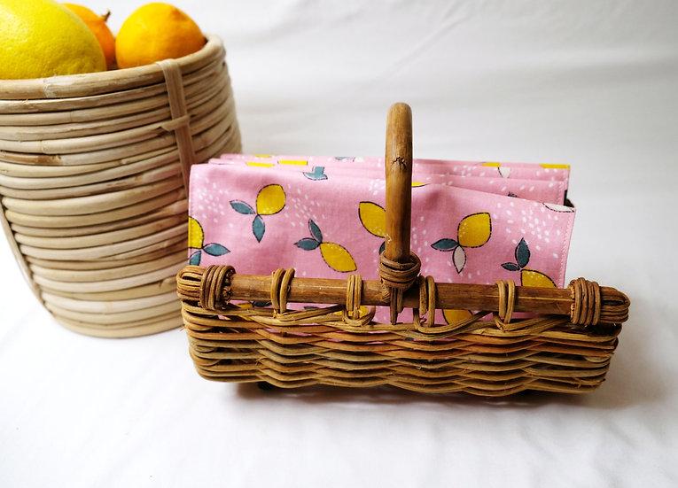 Yellow Lemons on Pink Cloth Napkins