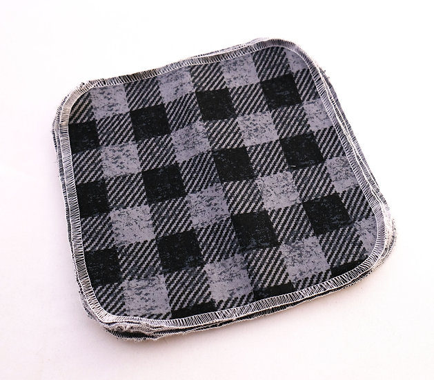 Black and Gray Buffalo Print - Reusable Wipes/Hankies