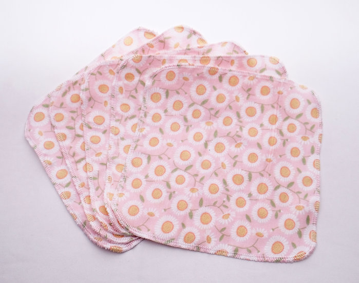 Pink with White Flowers - Reusable Wipes/Hankies