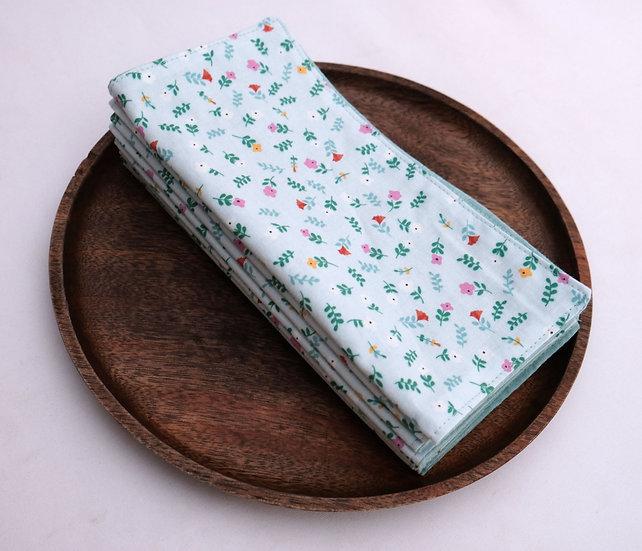 Simple Small Flowers on Light Blue - Cloth Napkins