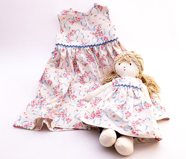 Floral Dress with Blonde Doll - Dress and Doll Set - 2T | Handmade by Rhonda