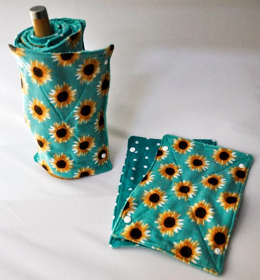 Terry Towel Roll - Sunflowers and Polka Dots on Teal
