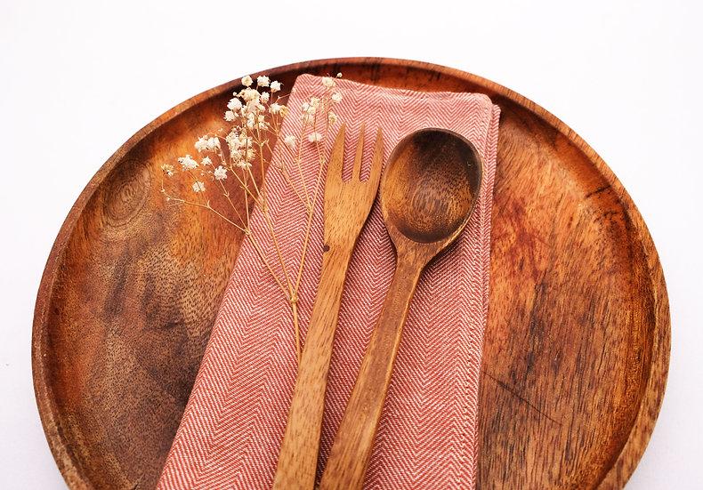 Herringbone Cloth Napkins - Rust Red