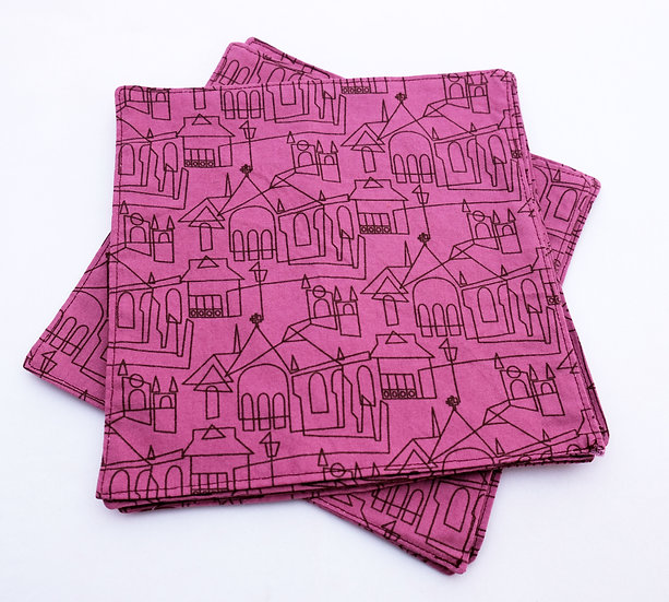 Double Sided Modern Purple Lines Cloth Napkin Set